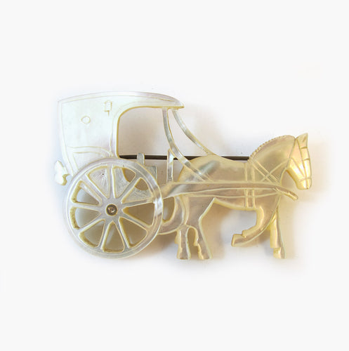 Vintage Handcrafted Mother of Pearl Horse & Cart Brooch