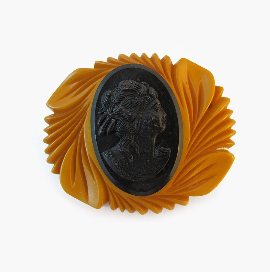 1950's Vintage Hand Carved Bakelite - Celluloid Pressed Cameo Brooch