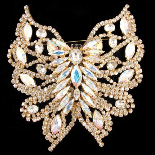 Vintage 1970's Crystal Butterfly Brooch