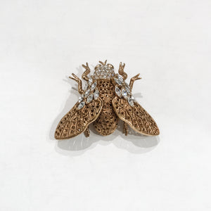 Ciner NY Large Fly Topaz Eyes & Clear Crystal Brooch