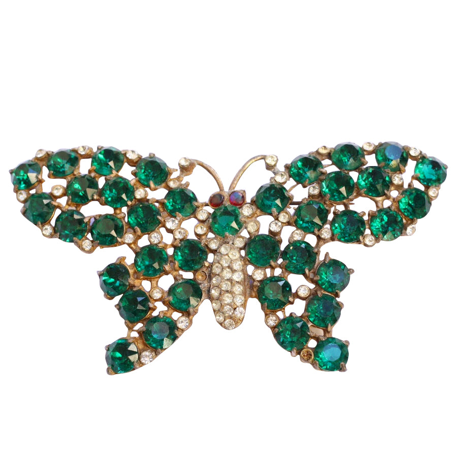 Vintage Green Crystal Butterfly Brooch