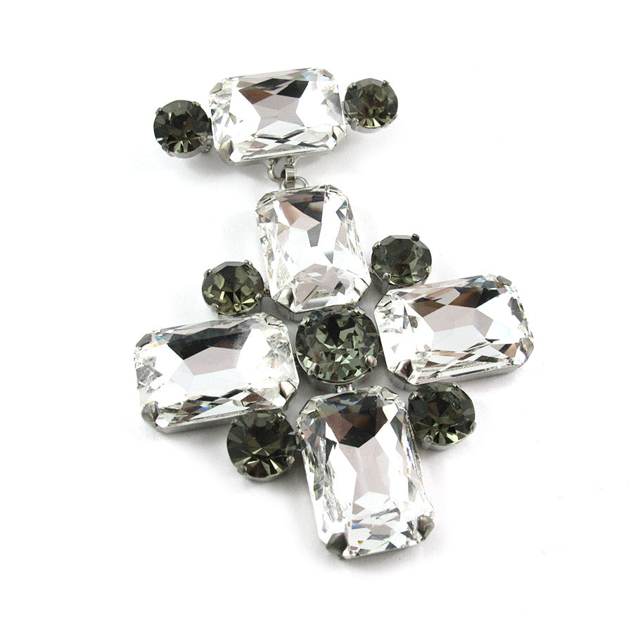 Harlequin Market Crystal Cross Brooch - Clear & Black Diamond