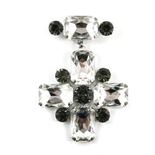 Load image into Gallery viewer, Harlequin Market Crystal Cross Brooch - Clear & Black Diamond