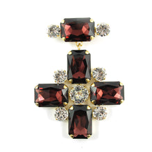 Load image into Gallery viewer, Harlequin Market Crystal Cross Brooch - Burgundy & Clear