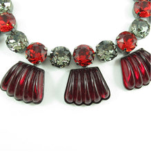 Load image into Gallery viewer, Harlequin Market Detail Crystal Accent Necklace - Black Diamond + Light Siam