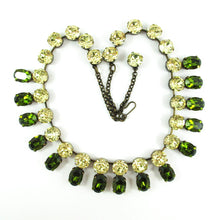 Load image into Gallery viewer, Harlequin Market Double Crystal Accent Necklace - Olivine and Jonquil