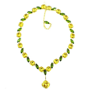 Harlequin Market Statement Crystal Accent Necklace - Light Topaz + Olivine