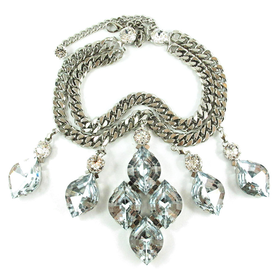 Harlequin Market Statement Crystal Accent Necklace - Clear