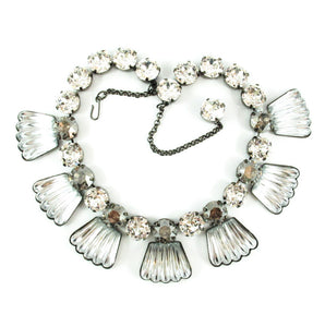 Harlequin Market Detail Crystal Accent Necklace - Black Diamond + Clear