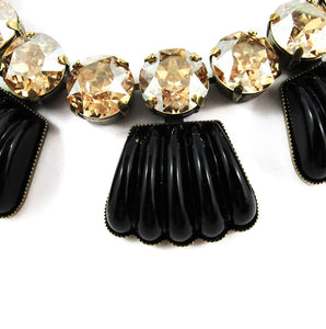 Harlequin Market Detail Crystal Accent Necklace - Black Opaque + Golden Shadow