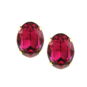 Harlequin Market Large Oval Crystal Earrings - Fuchsia