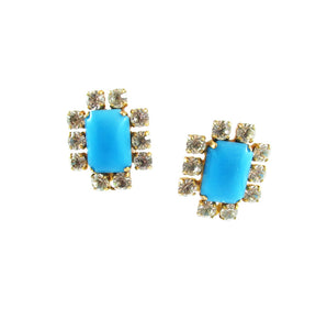 Harlequin Market Detail Earrings - Turquoise + Clear -(Pierced earrings)