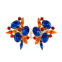 Load image into Gallery viewer, Harlequin Market Capri Blue, Hyacinth & Topaz Crystal Earrings