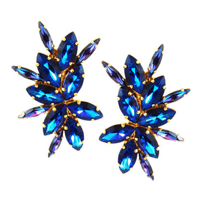 Harlequin Market Crystal Earrings-(Clip-On Earrings)