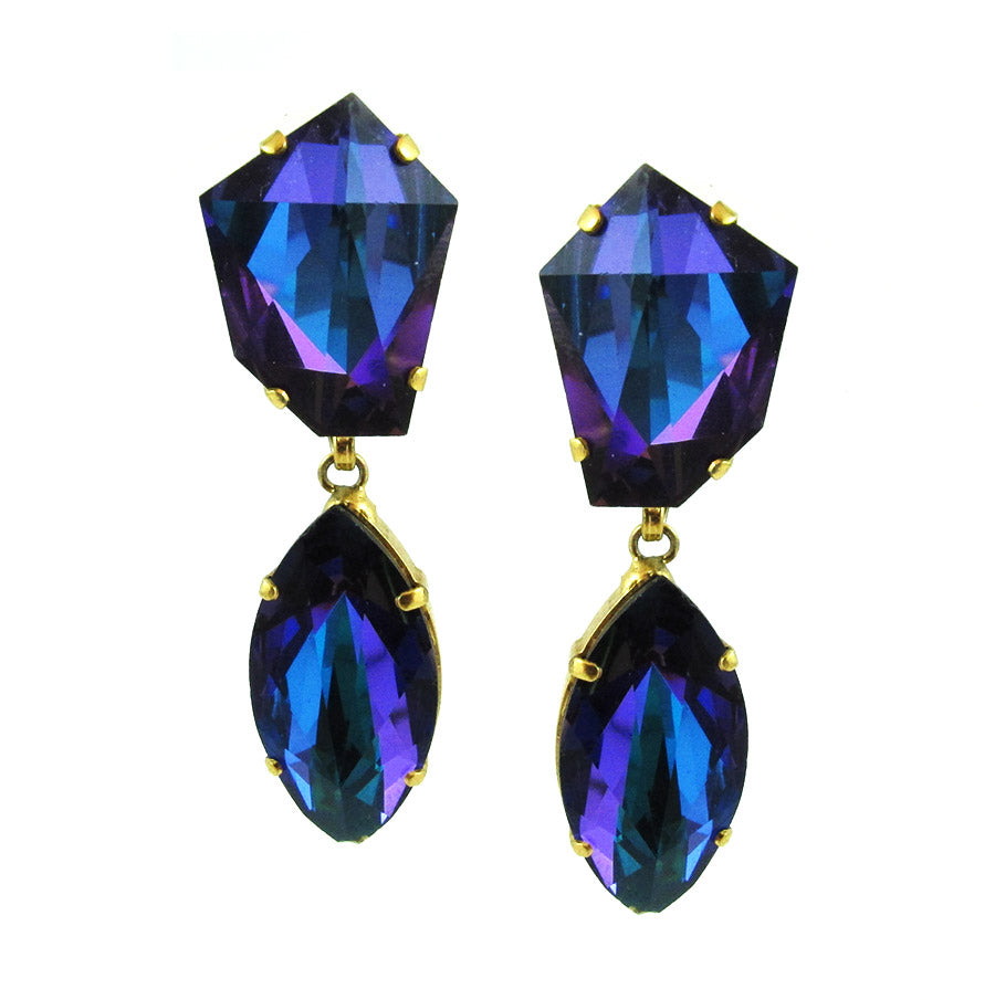 Harlequin Market Blue Square Drop Crystal Earrings