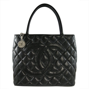 Chanel Vintage Black Caviar Leather Silver Tone CC Medallion Bag c. 2000