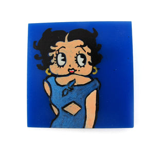 Signed 'C.D' Hand Painted 'Betty Boop' Plastic Brooch