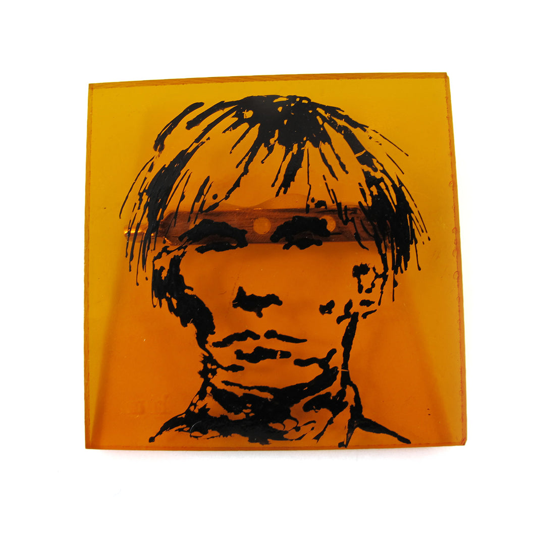 Signed 'C.D' Hand Painted 'Andy Warhol' Plastic Brooch