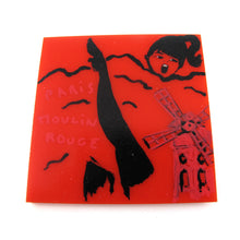 Load image into Gallery viewer, Signed 'C.D' Hand Painted 'Paris Moulin Rouge' Plastic Brooch