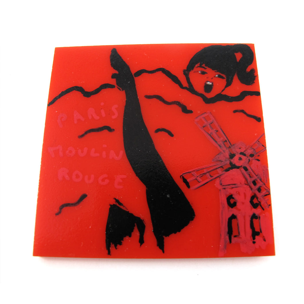 Signed 'C.D' Hand Painted 'Paris Moulin Rouge' Plastic Brooch