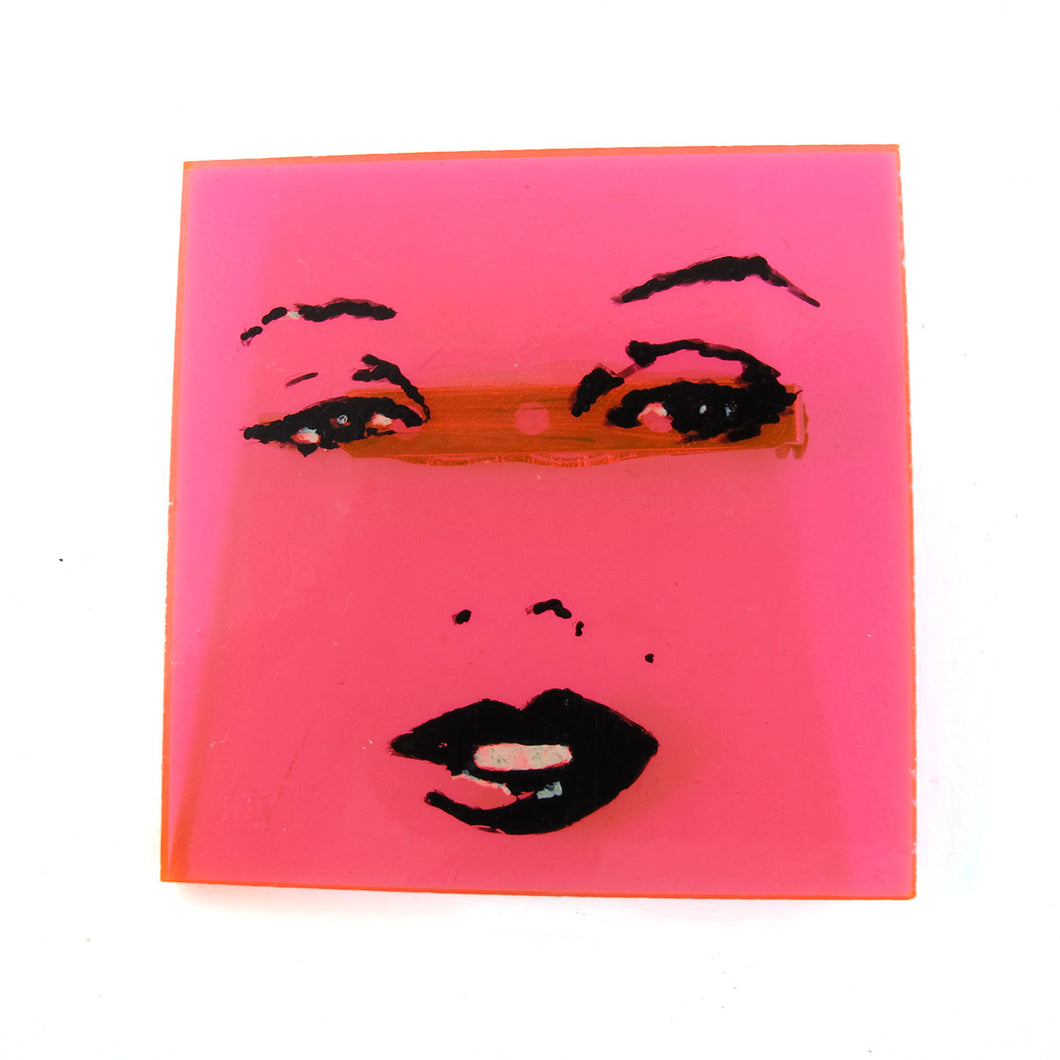 Signed 'C.D' Hand Painted 'Marilyn Monroe' Pink Opaque Plastic Brooch