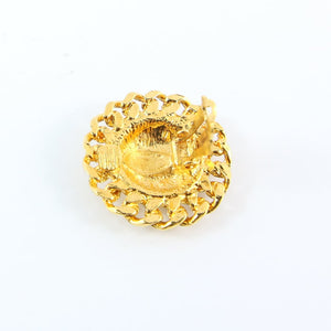 Chanel Vintage Signed CC Quilted Round Gold Earrings c. 1990s (Clip-on)