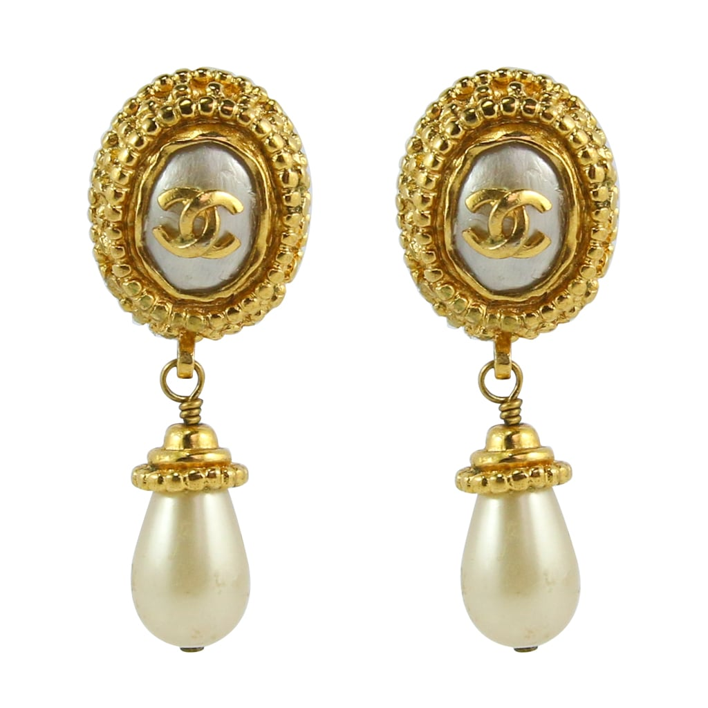 Chanel Vintage CC Gold Faux Pearl Drop Earrings c. 1990 (Clip-on)