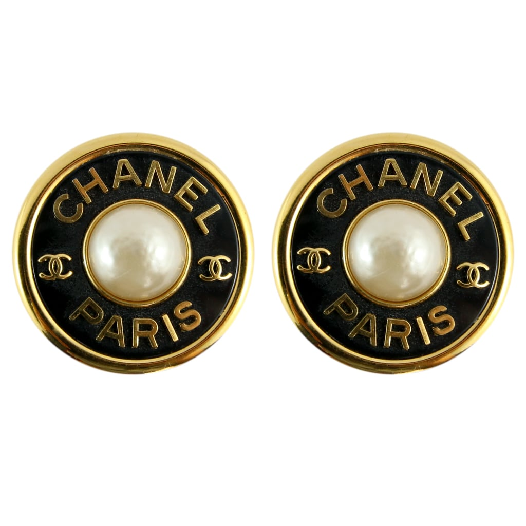 Chanel Vintage Large Round CHANEL PARIS CC Black Gold Faux Pearl Earrings c. 1990 (Clip-on)