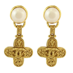 Chanel Vintage Florentine CC Faux Pearl Drop Cross Earrings 1994 (Clip-on)