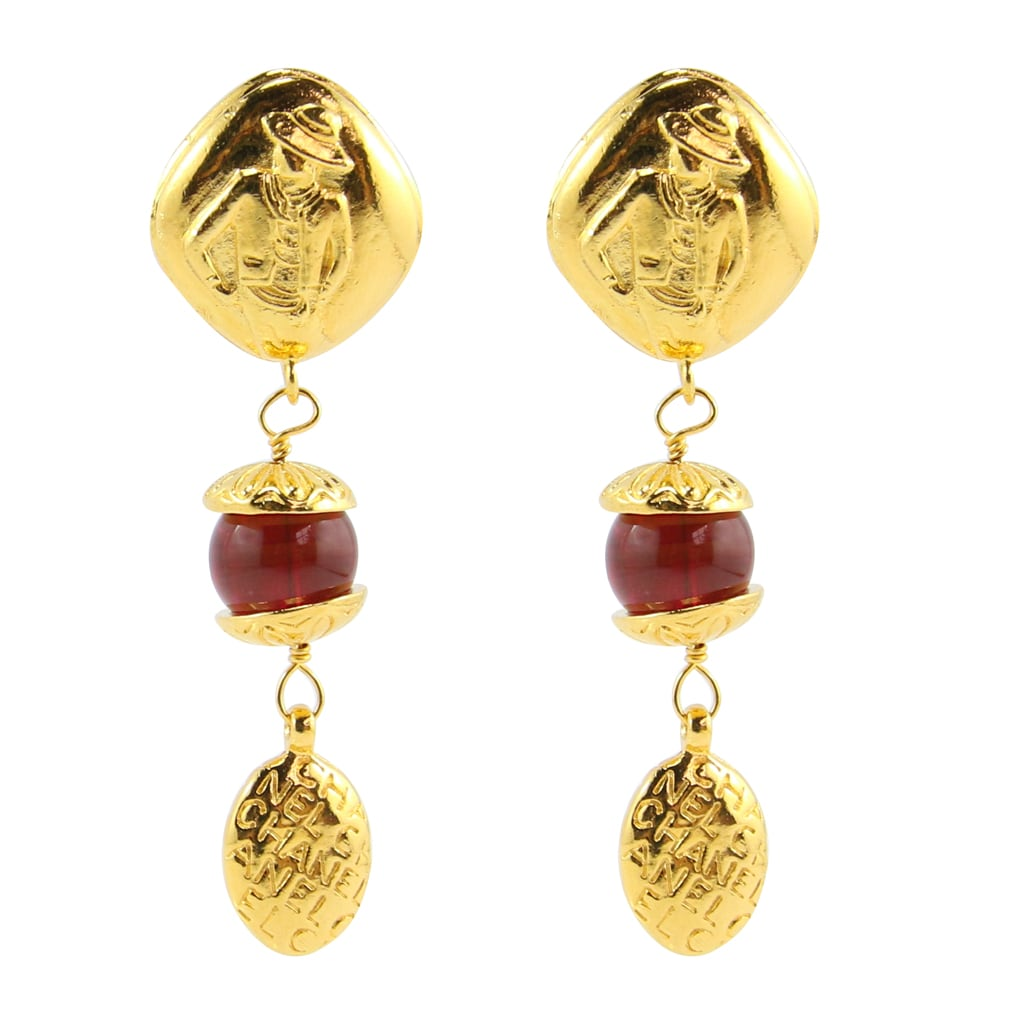 Chanel Vintage Red Gripoix Pate-de-Verre Gold Mademoiselle Drop Earrings c. 1990 (Clip-on)