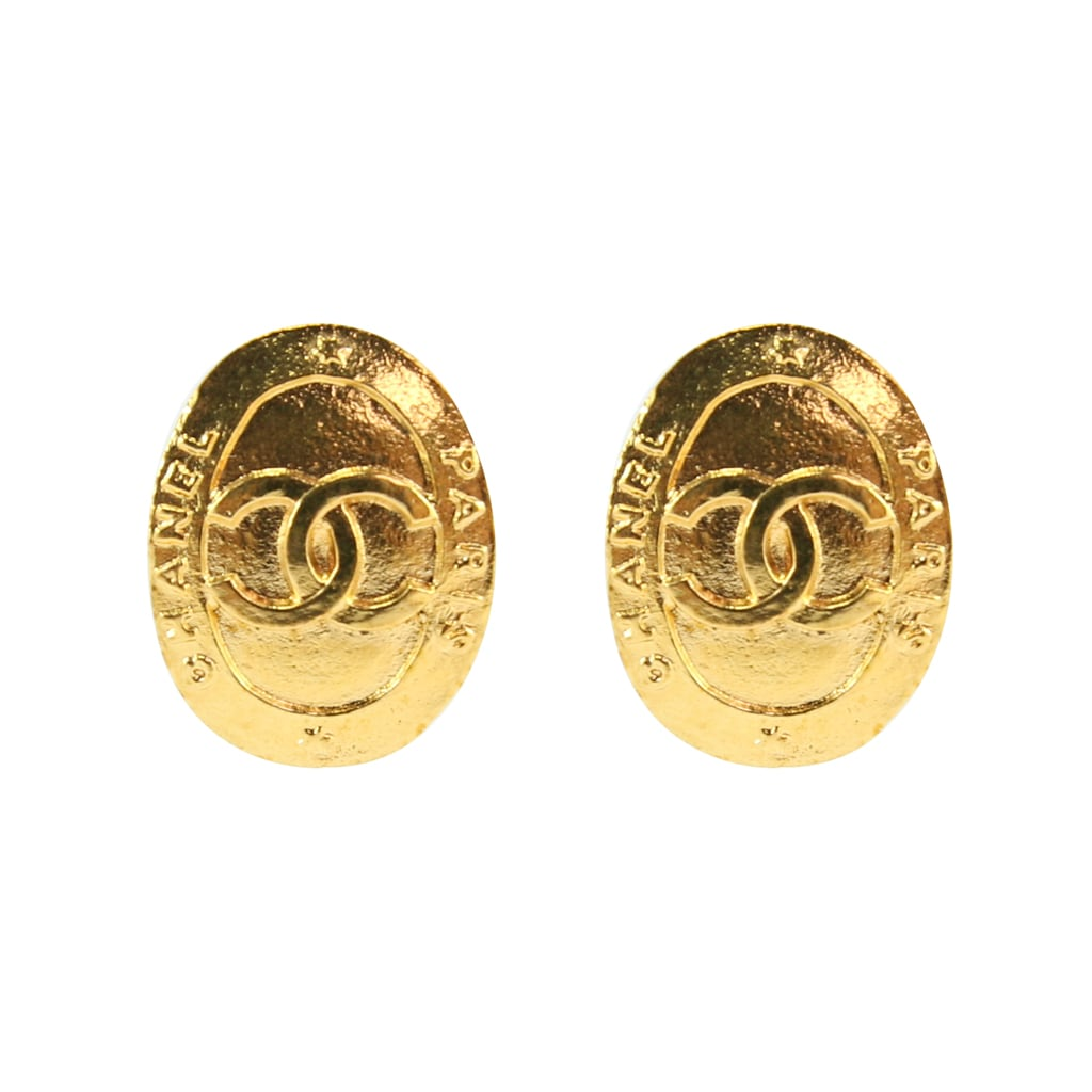 Chanel Vintage Gold CC CHANEL PARIS Oval Earrings c. 2000 (Clip-on)