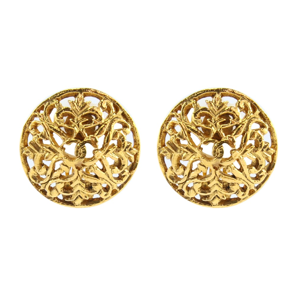 Chanel Vintage CC Textured Gold Detail Round CC Earrings c. 2006 (Clip-on)
