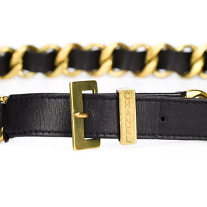 Vintage Chanel Signature Chain- Black Leather Signed Belt c. 1994
