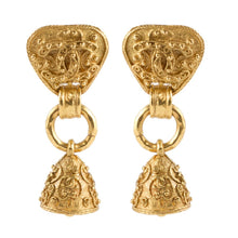 Load image into Gallery viewer, Chanel Vintage Signed Gold Tone Fretwork Bell Earrings - 1994