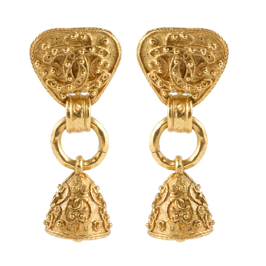 Chanel Vintage Signed Gold Tone Fretwork Bell Earrings - 1994