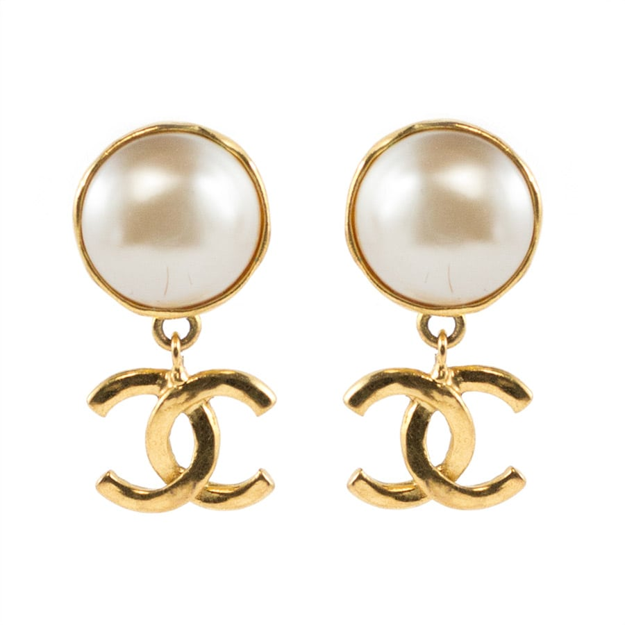 Chanel Vintage Signed Faux Pearl Gold Tone Logo Drop Earrings - 1993 P