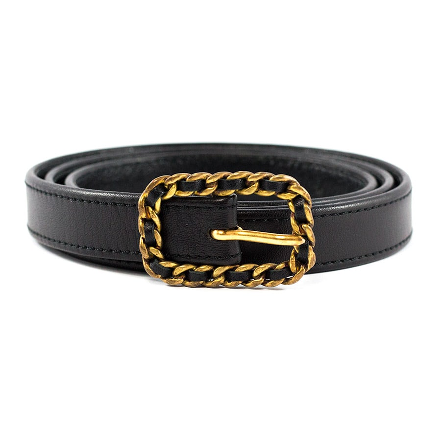 Chanel Vintage Black Lambskin Thin Belt with Gold Buckle c. 1980
