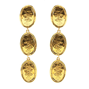 Chanel Vintage Signed Gold Tone Oval Coin Drop Earrings - Collection 26