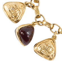 Load image into Gallery viewer, Chanel Vintage Signed Deep Red Gripoix Charm Bracelet c. 1970s