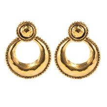 Load image into Gallery viewer, Chanel Vintage Signed Gold Tone Door Knocker earrings c. 1990
