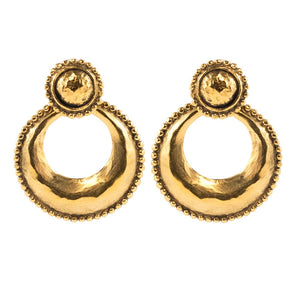 Chanel Vintage Signed Gold Tone Door Knocker earrings c. 1990