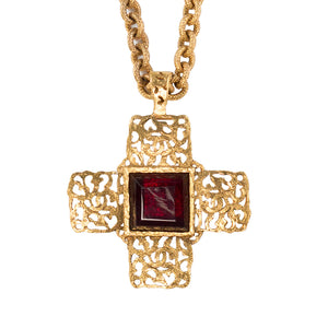 Chanel Vintage Red Gripoix Cross Pendant Necklace - Collection 25