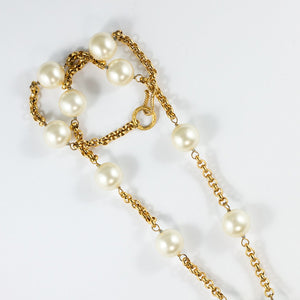 Chanel Vintage Signed Faux Pearl Necklace With Centre Drop c. 1970
