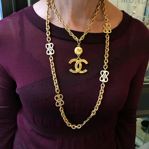 Chanel Vintage Gold Tone Long Textured Sautoir Necklace with Logos c.1980