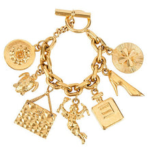 Load image into Gallery viewer, Vintage Chanel Iconic Gold Tone 7 Charm Bracelet c. 1980