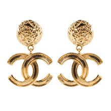 Load image into Gallery viewer, Chanel Vintage Signed Gold Tone CC Logo Earrings - 1995