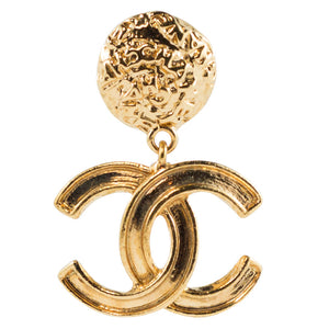 Chanel Vintage Signed Gold Tone CC Logo Earrings - 1995