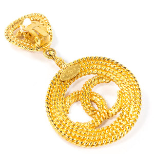 Chanel Vintage Signed Jumbo Rope Gold Tone CC Statement Earrings