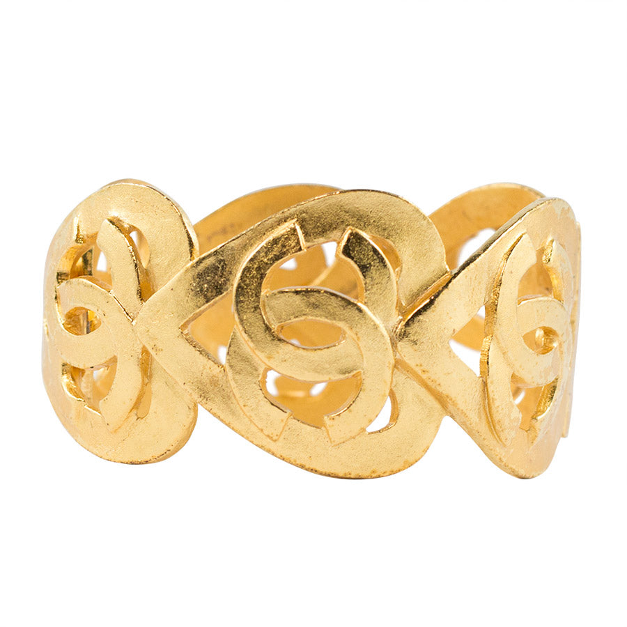 Chanel Vintage Signed Logo Heart Gold Plated Hinged Cuff 1995