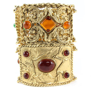 Vintage Signed Chanel Gripoix (Hand-poured-glass) cuff c. 1980